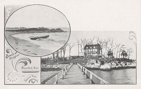 Undated postcard titled 'Beach at Shippan, Stamford.Conn., Sound View.'  The house is the Skiddy house on Pound Rock, 348 Weed Avenue, Cove Pond