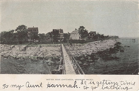 Undated postcard of summer cottages with inscription. The wtriter put his name on the pier.