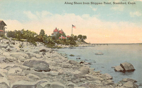 Postcard dated 1913, titled 'along Shore from Shippan Point, Stamford, Conn.'