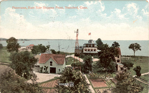 Postcard dated 1908, titled 'Panorama, East Side Shippna Point, Stamford, Conn.