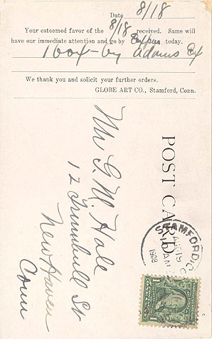 Back of the 1908 postcard showing an order confirmation.