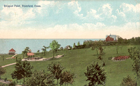 Postcard dated August 1908, titled 'Shippan Point, Stamford, Conn.'. See back of of card at the right.