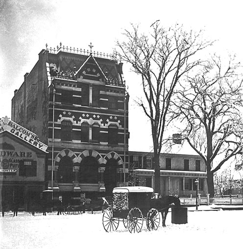 First National Bank Building, Atlantic Sqare, snow scene with horse cart