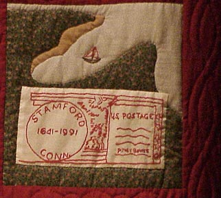 The Stamford Quilt, Ptney Bowes 1920 with postage stamp