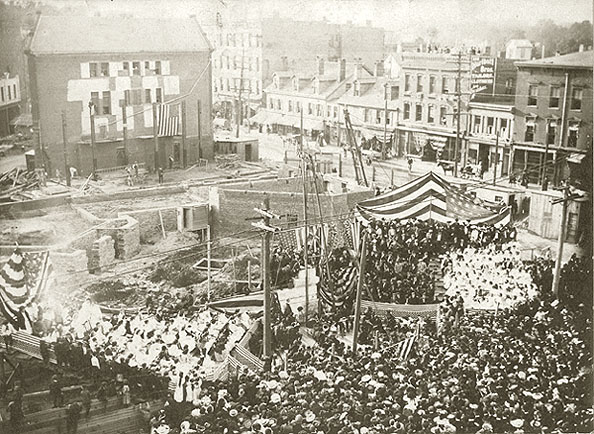 laying of the corner stone for the new townhall