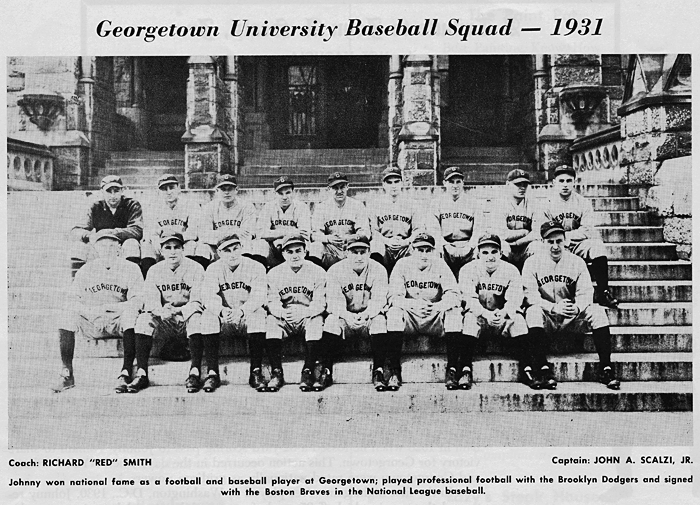 Georgtown University Baseball Sqad, 193 - Captain: John Scalzi, Jr.