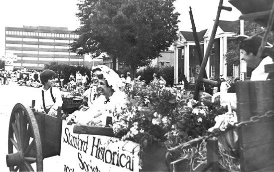 tStamford Historical Society's Wagon, Kay Small and Josephine Deming