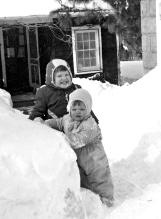 Nina and Pam Outerbridge, Trinity Pass Road, about 1961