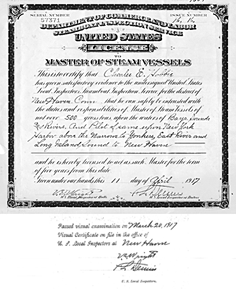 Charles E. Hobbie's Master of Steam Vessels License, 1917, click to enlarge