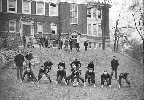 undated photo in front of old Stamford High School building