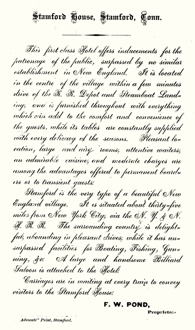 promotional description of the Stamford House Hotel