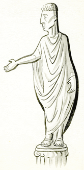cartoon of a statue